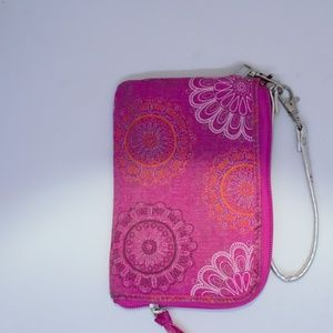 Thirty One Pink Zipper Wristlet ID holder